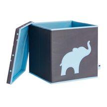 LOVE IT STORE IT - Úložný box na hračky s krytom - šedý, modrý slon
