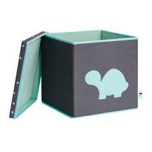LOVE IT STORE IT - Úložný box na hračky s krytom - šedý, zelená korytnačka
