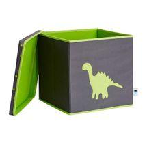 LOVE IT STORE IT - Úložný box na hračky s krytom - šedý, zelený dinosaurus