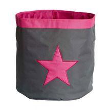 LOVE IT STORE IT - Veľký úložný box, okrúhly - šedý, ružová hviezda