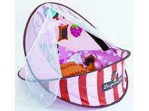 LUDI - Cestovná postielka / deka s hrazdou ružová