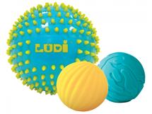 LUDI - Senzorické loptičky 3 ks modré