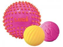 LUDI - Senzorické loptičky 3 ks ružové