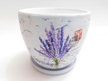 MAKRO - Kvetináč s miskou keramický 13cm LEVANDUĽA