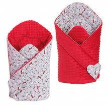 MAMO TATO - Obojstranná zavinovačka Minky Baby - Bociany/červená