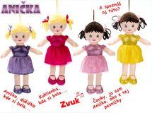 MIKRO TRADING - Spievajúca látková bábika Anička 32cm - žltá