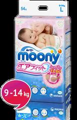 """MOONY - Detské plienky Air Fit """"L"""" (9-14kg) 54 ks."""