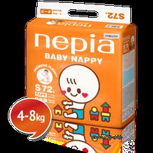 """NEPIA - Detské plienky s páskou Tape """"S"""" (4-8kg) 72 ks"""