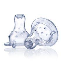 NUBY - Silikónový cumlík na fľašu štandard, masážny, nekvapkajúci, samoregulačný 2 ks, 4+m