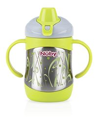 NUBY - Termo hrnček nerezový s mäkkým náustkom a s uškami 220ml, 6m+