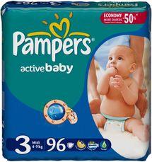 PAMPERS - Active Baby-Dry Plienky, veľkosť 3 (Midi), 4 - 9 kg, 96 kusov + pri kúpe 2 balení Zdarma vlhčené utierky