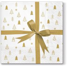 PAW - Papierové vianočné servítky Gift - zlatý