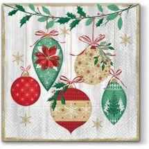 PAW - Papierové vianočné servítky Vintage Baubles