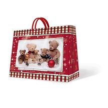 PAW - Vianočná taška Teddy Bear Family stredná podlhovastá 20 x 25 x 10 cm