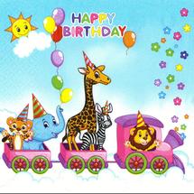 POL-MAK - Papierové servítky Happy Birthday Train