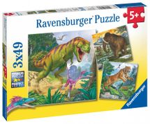 RAVENSBURGER - Dinosaury a čAction Series Mini 3x49 dielikov