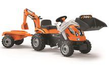 SMOBY - Šliapací traktor Builder Max s bagrom a vozíkom oranžový