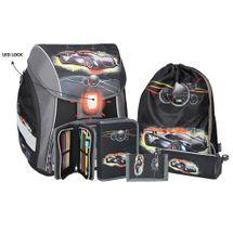 SPIRIT - Školská taška - 5-dielny set, PRO LIGHT Sport Car, LED