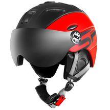 SPOKEY - MONTANA lyžiarska prilba s vymeniteľným čelným sklom, čierno-červená, vel. L / XL