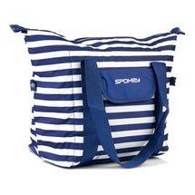 SPOKEY - SAN REMO Plážová termo taška, pruhy - námornícka modrá, 52 x 20 x 40 cm