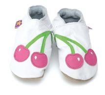 STARCHILD - Kožené topánočky - Cherry Baby White - veľkosť S (0-6 mesiacov)