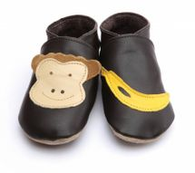 STARCHILD - Kožené topánočky - Monkey and Banana Choc - veľkosť M (6-12 mesiacov)