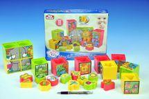 TEDDIES - Kocky kubus vkladačka plast -12ks v krabici - od 12 mesiacov