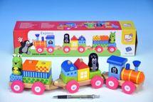 TEDDIES - Vlak s domčekmi Krtek dřevo 19ks v krabici od 18 mesiacov