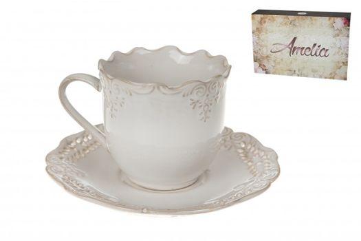 VERONI - Šálky + tanieriky Amelia, 12 dielna sada