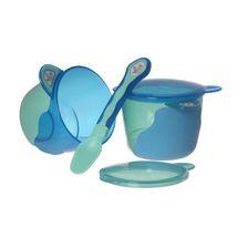 VITAL BABY - Prvá detská miska s lyžičkou - modrá / zelená