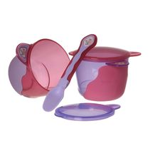VITAL BABY - Prvá detská miska s lyžičkou - fialová / ružová