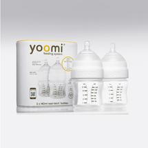 YOOMI - 140 ml dojčenská fľaša 2x (bez ohrievača) + cumlík s pomalým prietokom