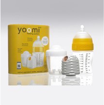 YOOMI - set 3 v 1 - 240 ml dojčenská fľaša + ohrievač + nabíjačka na ohrievač - žltý
