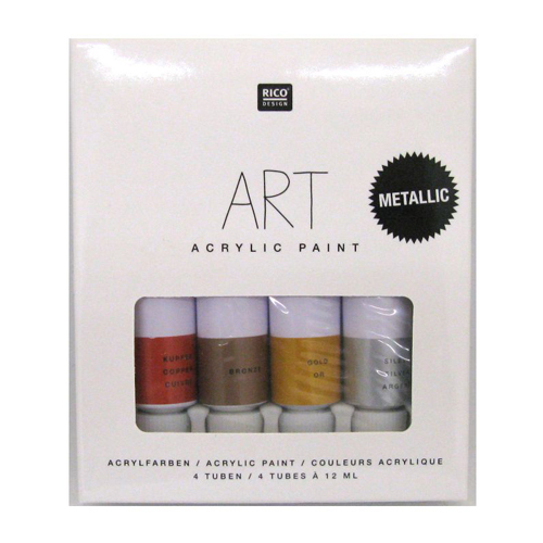 RICO DESIGN - RI sada akrylových farieb Metallic 4x12 ml