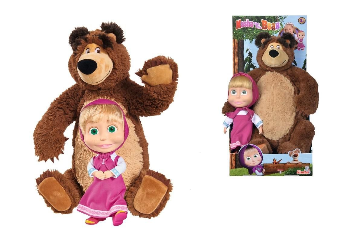 SIMBA - Máša a medveď Súprava Miško 43 cm plyšový a bábika Máša 23 cm