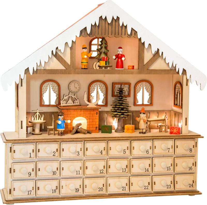 SMALL FOOT - Drevený adventní kalendár kúzelný vianoční dom