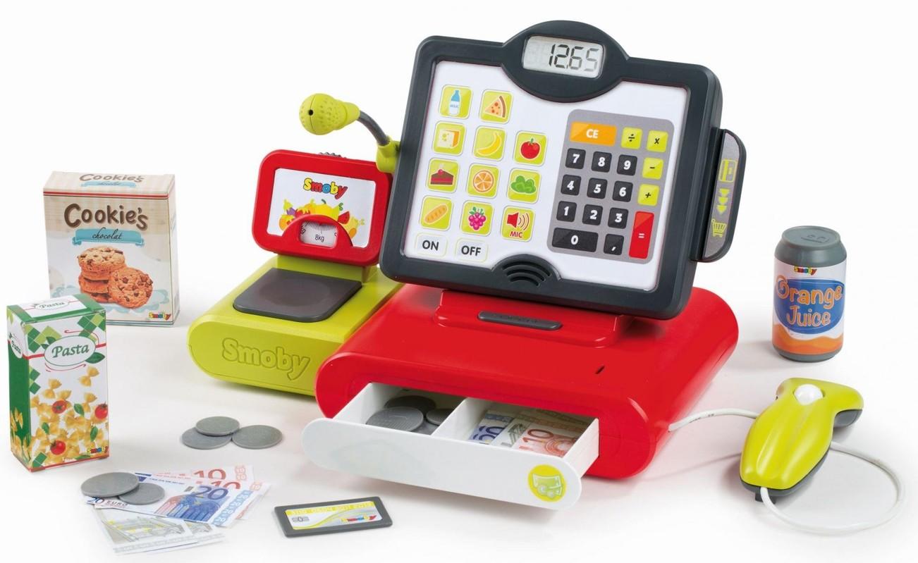 SMOBY - 350102 Elektronická pokladňa s dotykovou obrazovkou, zvukom a čítačkou kódov