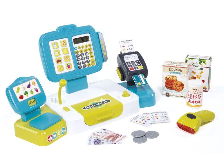 SMOBY - 350105 Elektronická pokladňa s čítačkou kódov, kariet a s váhou tyrkysová