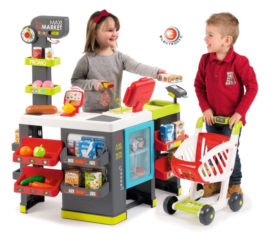 SMOBY - 350215 Obchod Maximarket so skenerom, čítačkou kariet, elektronickou pokladnicou a vozíkom šedo-červený