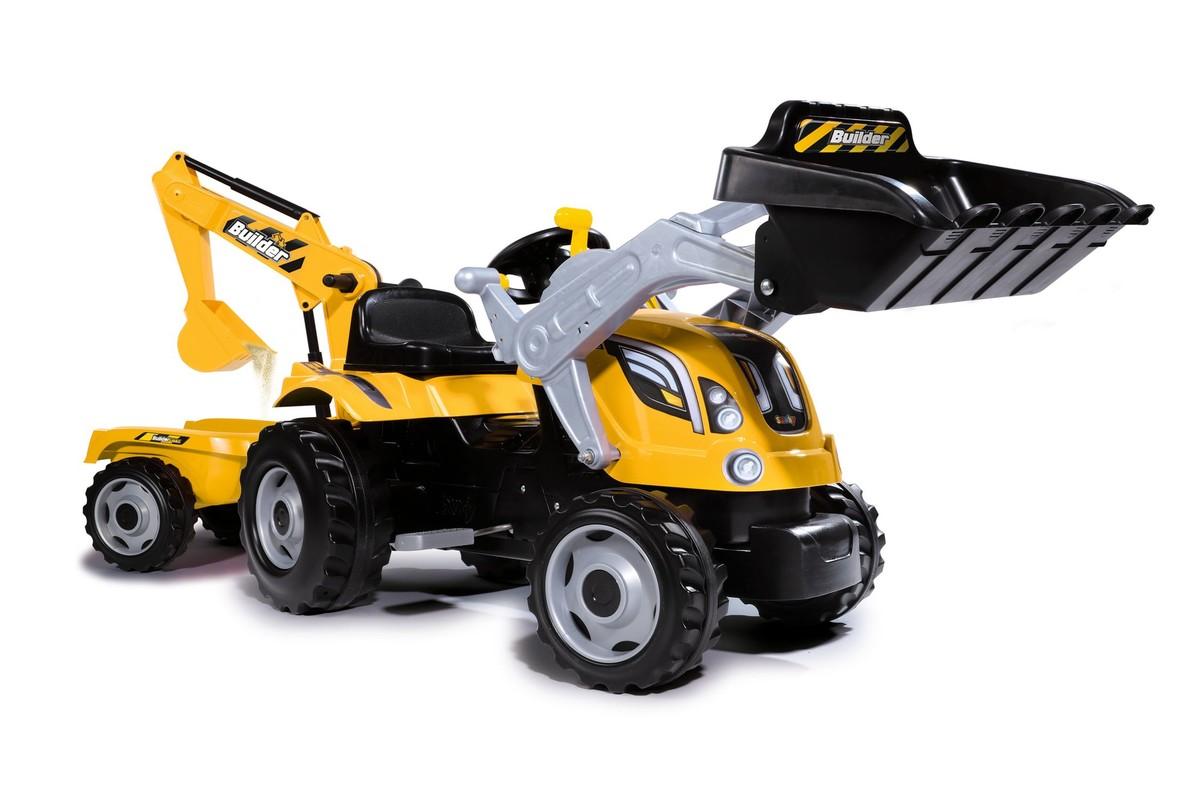SMOBY - Šliapací Traktor Builder Max S Bagrom A Vozíkom