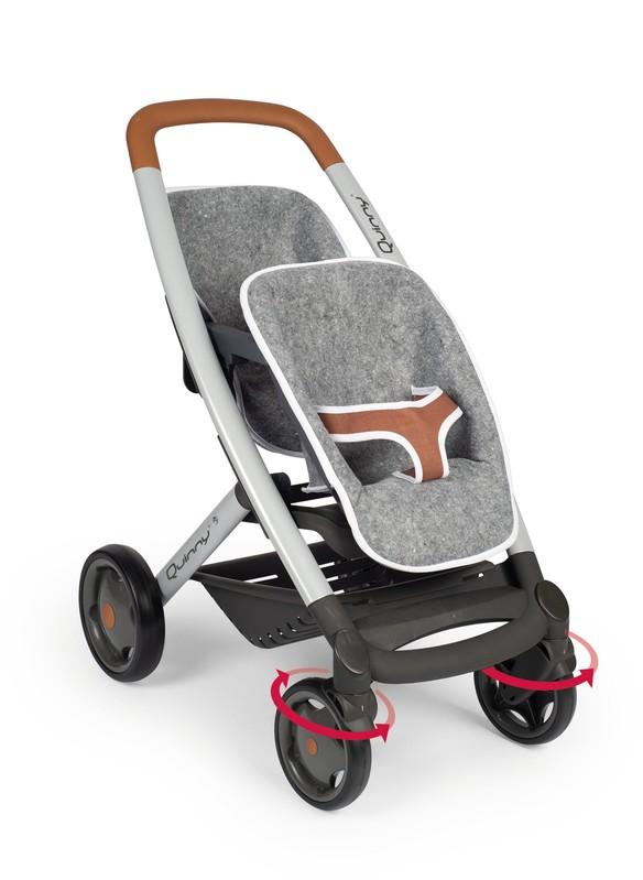 SMOBY - Športový kočík pre bábiky dvojčatá Maxi Cosi šedý