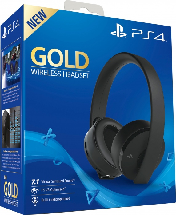 SONY - PS4 Gold Wireless Headset Black, Headset pre PlayStation 4