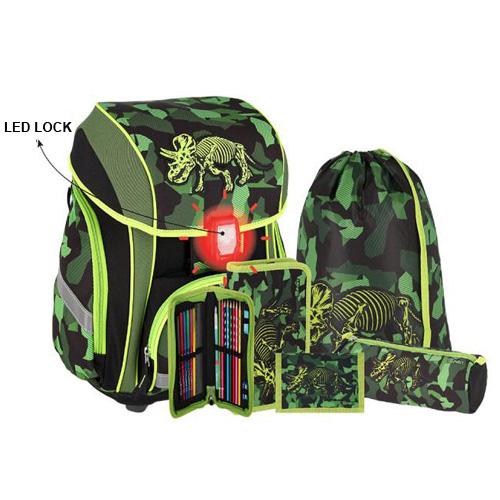 SPIRIT - Školská taška - 5-dielny set, SMART 3D Triceptosaurus, LED