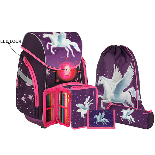 SPIRIT - Školská taška - 6-dielny set, PRO LIGHT PREMIUM 3D Horse, LED