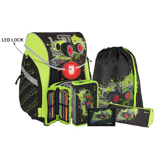 SPIRIT - Školská taška - 6-dielny set, PRO LIGHT PREMIUM 3D Traktor, LED