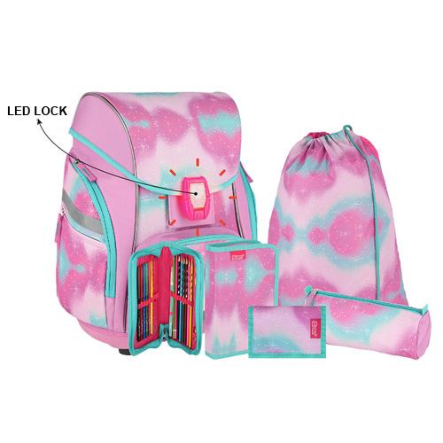 SPIRIT - Školská taška - 7-dielny set, PRO LIGHT PREMIUM Unicorn Lila, LED