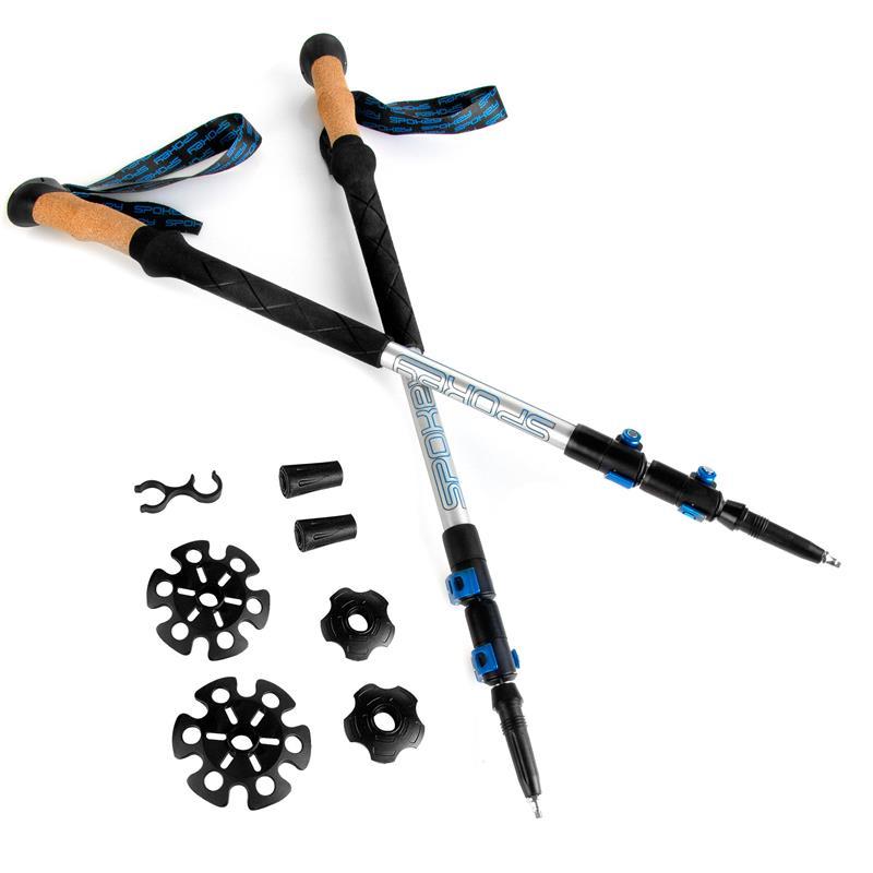 SPOKEY - COMPASS Trekingové palice 3-dielne, modro-strieborné