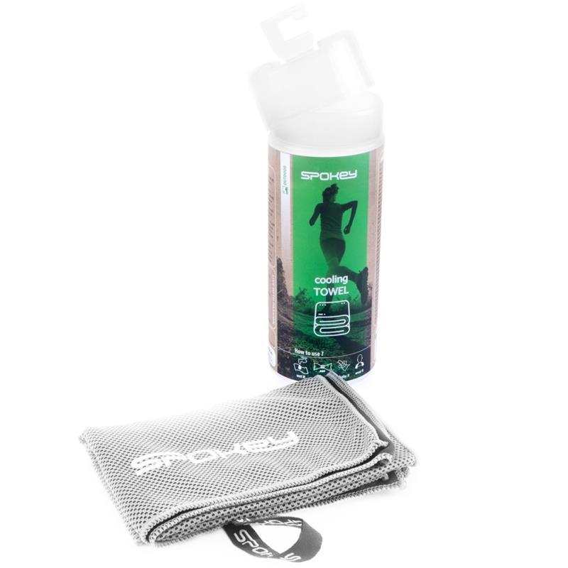 SPOKEY - COSMO Chladiaci rýchloschnúci uterák 31 x 84 cm, sivý v plastovej tube