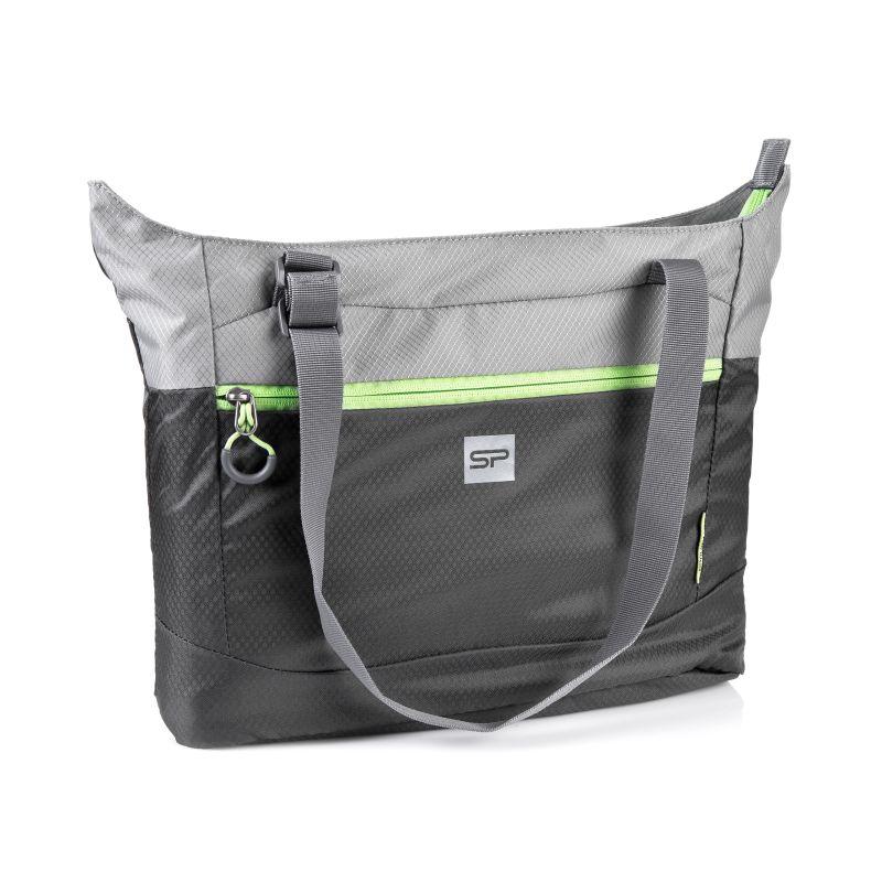 c89d9b4b2 SPOKEY - HIDDEN LAKE Taška cez rameno šedá, zelený zips, skladací ...