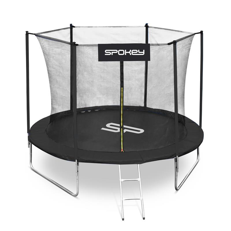 SPOKEY - JUMPER II Trampolína čierna, priemer 305 cm, vrátane ochrannej siete a rebríku